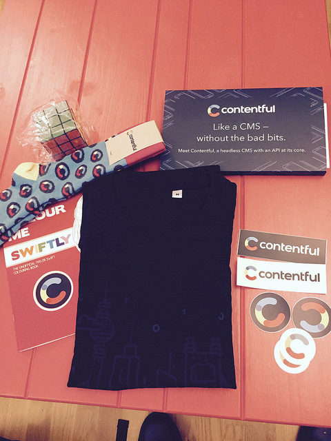 contentful goodies with T-shirt & Socks