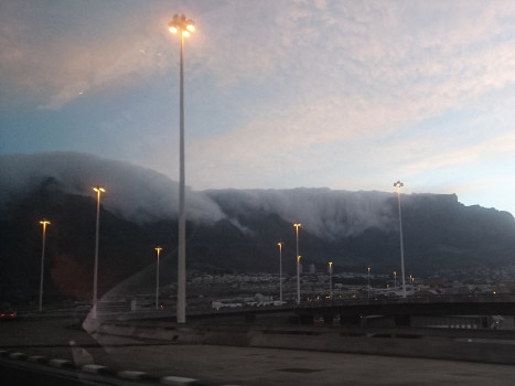 Fog on Table mountain, seen from the highway
