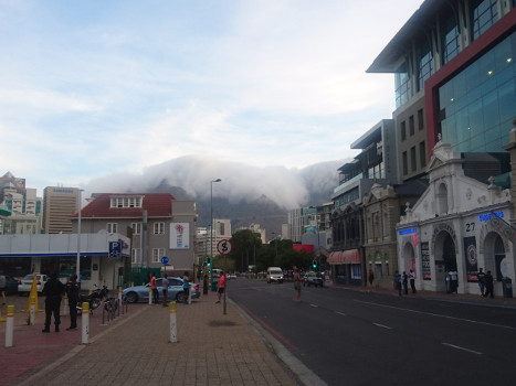 Foggy Table mountain, seen from the street