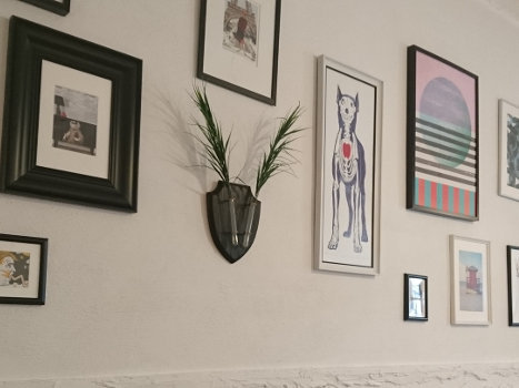 Drawings hanging on the wall of Milk Coworking